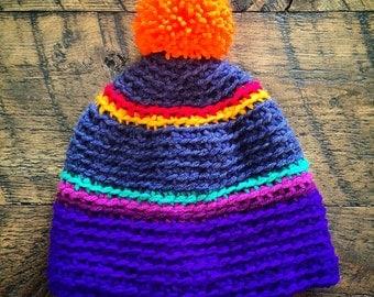 Crochet Beanie with pom pom - Indecisive Explorer