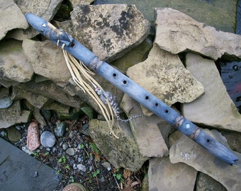 Native American Style Flute in the key of F# with Stone Arrowhead Totem. FREE SHIPPING !!!