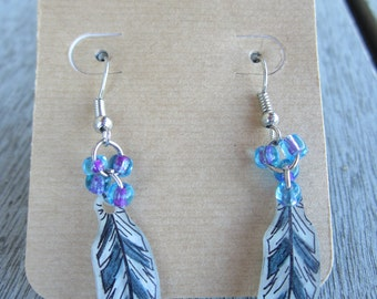 Country Feather Shrinky Dink Earrings with Glass Beads