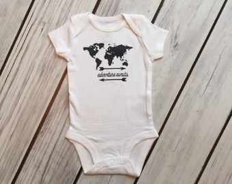 Adventure Awaits World Map White Baby Bodysuit or Layette Baby Gown - 18 design color choices