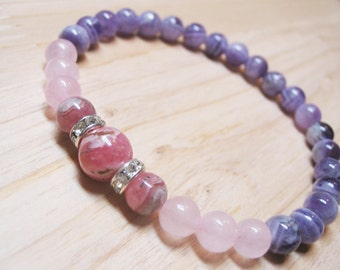 Rhodochrozite Bracelet Rose Quartz Bracelet Amethyst Bracelet Calm Bracelet Healing Bracelet Spiritual Bracelet Love Bracelet Inner Peace