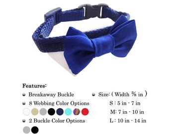 Adjustable Cat Collar with Bow Tie Breakaway Buckle  Multiple Sizes 8 Webbing Color Options 8 Bow Tie Options