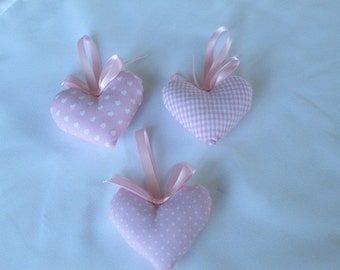 Baby Pink Fabric Hearts