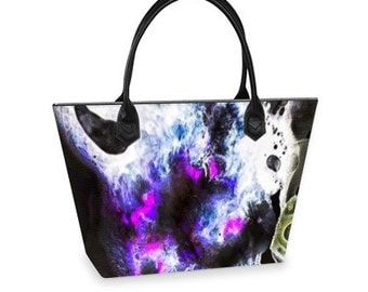 Handmade digital print shopper bag.