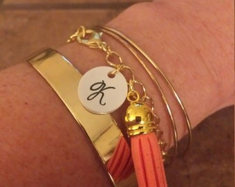 Gold Link Tassel Diffuser Bracelet with Initial Charm