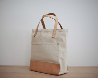 Summer bag, leather tote, white canvas tote, summer tote bag, leather tote women, minimalist leather tote, handmade leather tote