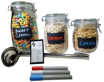 Glass Cookie and Food Storage Jars with Chalkboard Labels, 3 Liquid Chalk Markers (Red, Blue, White), 2 oz. Ladle and Cooking Chart