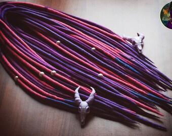 "Set of wool DE dreads ""Lilac"" pink, magenta, purple, blue, lilac 40 Dreadlocks"