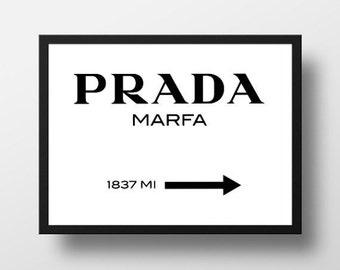 Prada Marfa Print, Printable, Prada Print, Typography Quote, Fashion Quote, Printable Wall Art, Prada Logo, Digital Print
