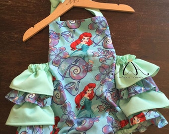 romper made from Little mermaid fabric - ruffle romper - mermaid romper - baby romper - vintage romper - toddler - baby - playsuit - summer