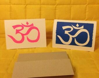 Blue and Pink Om Note Cards, Linoleum Block Prints