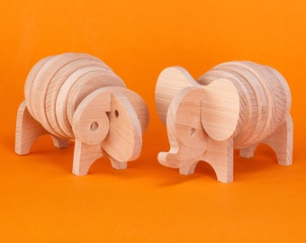 Save 28%!!! Sale!!! Wooden animal toys - Elephant and sheep. Save 28 percent !!! Sale!!!