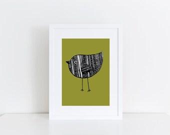 A4 Green Aztec Bird Print