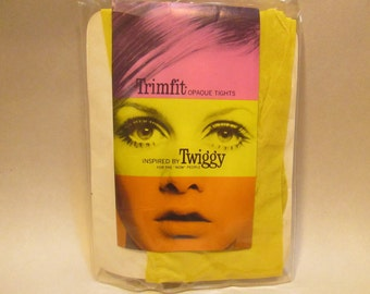 Vintage Yellow Petite Tights or Nylons with Twiggy for the 'Now' people 1967 Trimfit brand mod stockings