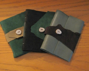 Small Green and Brown Leather Journals