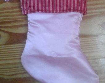 Pink Satin with Red/white pin stripe cuff Christmas Stocking