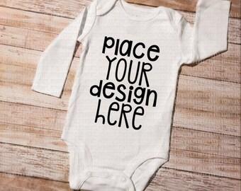 White Baby Bodysuit Long Sleeve - MOCK-UP Image, JPEG File, for Product Display, Blank Bodysuit Image