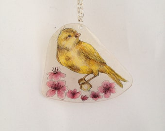 Yellow Canary and Pink Wildflowers Necklace