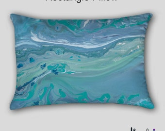 Accent pillow, Turquoise blue Teal, Aqua gray, Decorative, Abstract art, Throw pillow, Designer Home decor, Cover Case, Sofa cushion, Couch
