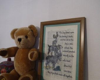 Framed Bremen Town Musicians Antique Dictionary Print