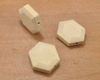 20pc Unfinished Geometric Faceted Wood Beads, Wood Hexagonal Beads Charm,Geometric Wood Finding,DIY,Jewelry Supply,Wood Crafts 30 x 10mm
