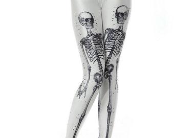 Digital Printed Skeleton Leggings, Festival Wear, Hippie Clothes, Meditation, Gypsy, Yoga pants, Boho Leggings, Colorful Leggings