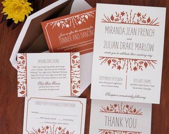 Fall Flora Wedding Invitation Set - Modern Wedding Invite - Rustic Wedding Invite - Digital Wedding Invitation Suite - AV4592