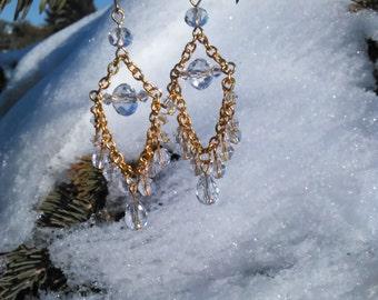 Gold beaded chandelier earrings