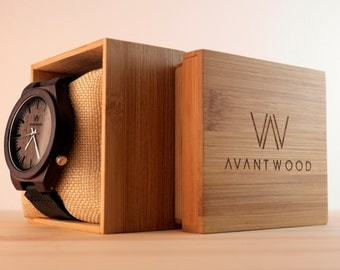 Walnut Wood Watch | Wooden Watch | Men's Wood Watch | Leather Strap Watch | Vintage Men's Watch | Groomsmen Gift | Fiance Gift | Wood Box