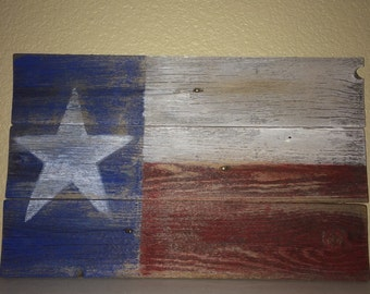 Rustic Reclaimed Fence Texas Flag