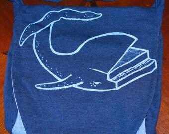 Handmade Bag Recycled T-Shirt Bag Piano Whale