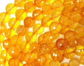 "10mm faceted citrine round beads 15"" strand 32209"