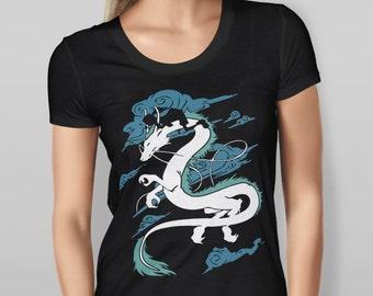 Women's Short Sleeve Black Spirited Away Dragon S M L XL XXL T-Shirt