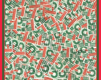 1,000 Vintage Christmas Stamps - Wreath and Candles - Stamp Art