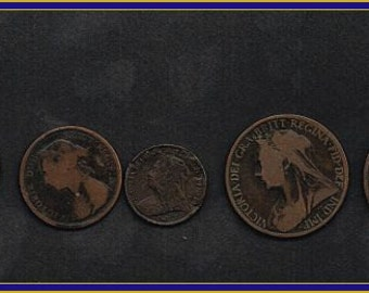 5 Queen Victoria Coins - 115 Years Old