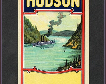 Original  Hudson Label - Authentic Lithographed Advertising Label