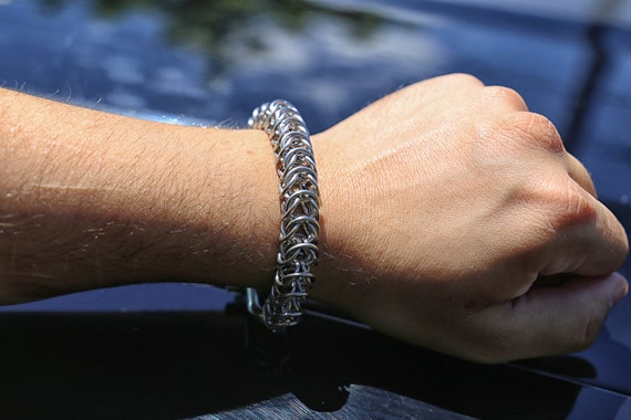 Stainless Steel Box Chain Chainmaille Bracelet - Gothic Chain Maille Cuff - Viking Armor Chainmail Bracer - Unisex Jewelry - Silver Chain