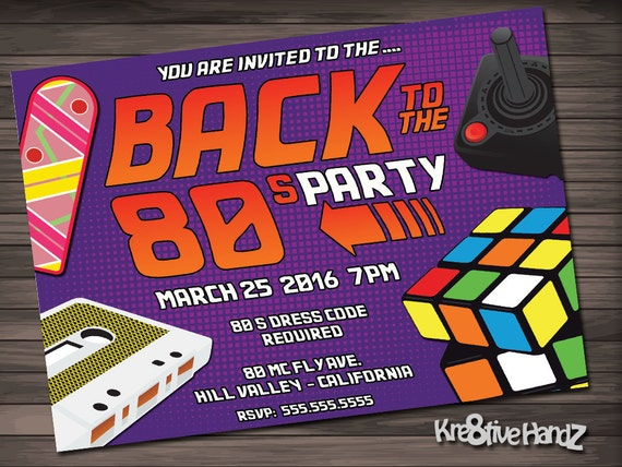 Back to the 80's Party Invitation Personalized Printable Invite for your theme party