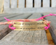 Custom Hand Stamped Bracelet, friendship bracelet, Custom Name Jewelry, Quote Bracelet, Gift Idea, Waxed Polyester cord