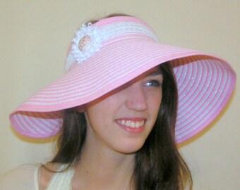 Wide Brim Hat, Sun Visor Hats,Shabby Chic,Packable Sun Hat,Adjustable,UPF 50+,Beach hat,Wedding Hat, Causual Elegance,Custom Fit, Visor Hats