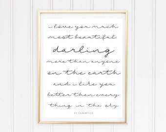I Love You Much Printable Poster // E E Cummings Printable // Love Poem Printable