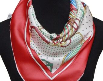 Rope print silk scarf,Anchor print scarf,Silk scarf square,Necktie,Bandanna,Bohemian scarf,Boho chic scarf,Red silk scarf,Rope scarf