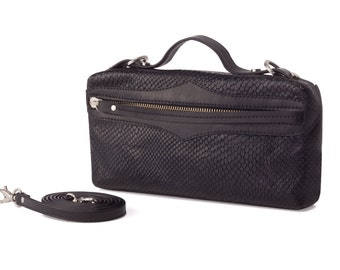Collécte bags, Dara black leather clutch bag, rectangle bag, removable strap purse, shoulder bag, cross body bag, top handle bag,evening bag