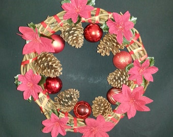 Traditional red, twig and pine cone wreath