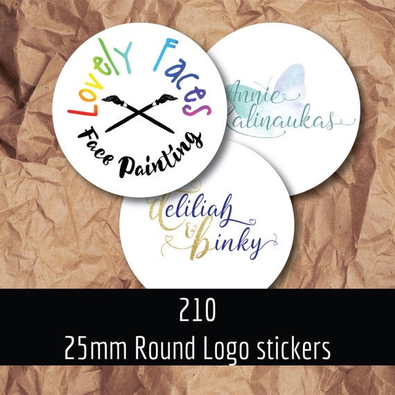 210 25mm logo stickers, Custom stickers, personalised circle labels, custom labels , business stickers,