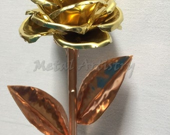 Copper and brass rose, perfect gift for Anniversary, Birthday, 7th anniversary, Mothers day,