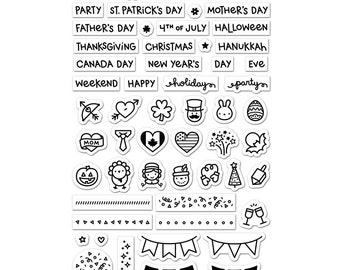 Daily Planner Lawn Fawn Plan On It: Holidays Clear Photopolymer Stamp Set
