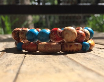 Turquoise & Wood Bead Bracelet Set