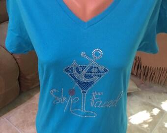 Rhinestone vneck tshirt, Ship faces vnek tshirt, Cruise tshirt, Vacation tshirt