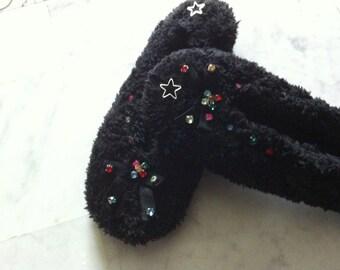 Very elegant women with Rhinestone slippers